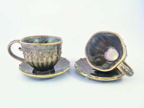Espresso Cup & Saucer Set, Porcelain, Gold Luster, Cone 6, 2018