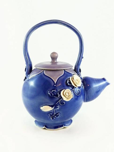 Rose Teapot, Porcelain, Cubic Zirconia, Cone 6, 2018