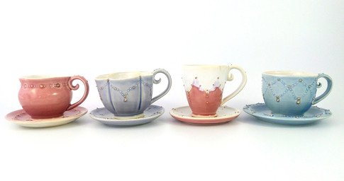 Espresso Cups & Saucers, Porcelain, Gold Luster, Cone 6, 2018