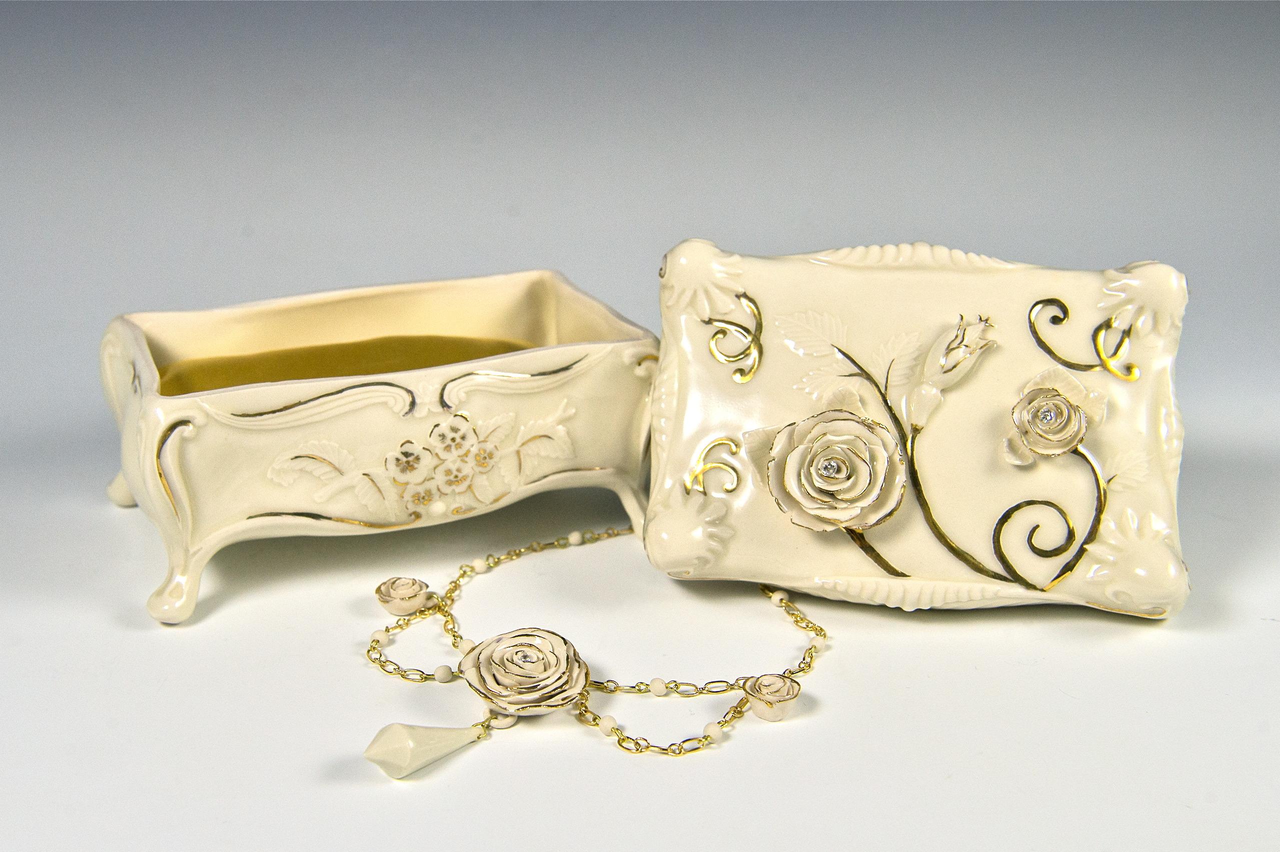 Victorian Jewelry Box w/ Necklace