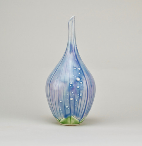 Bud with Dewdrops, Porcelain, Cubic Zirconia, Cone 6, 2018