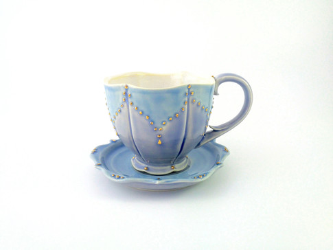 Teacup & Saucer, Porcelain, Gold Luster, Cone 6, 2018