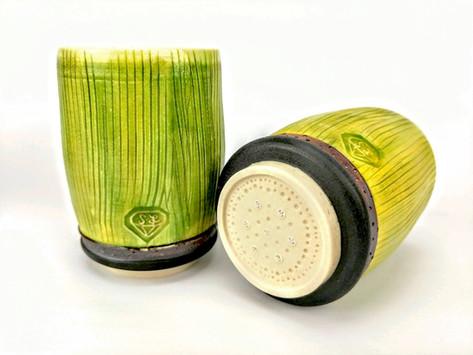 Sugarcane Rum Decanter Set, Porcelain, Underglaze, Cubic Zirconia, Cone 6, 2019.