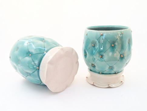 Goblets, Porcelain, Gold Luster, Cone 6, 2017