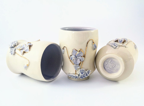 Wood Violet Cups, Porcelain, Cubic Zirconia, Gold Luster, Cone 6, 2018