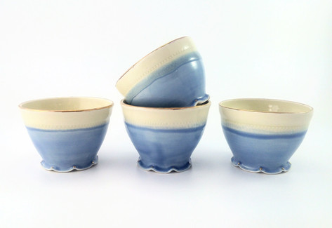 Bowls, Porcelain, Gold Luster, Cone 6, 2018