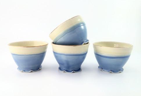Bowls, Porcelain, Gold Luster, Cone 6, 2018