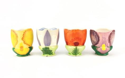 Floral Cups, Porcelain, Underglaze, Cubic Zirconia, Cone 6, 2019.