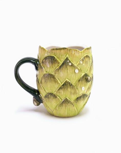 Injustice: Hoppy Beer Mug, Porcelain, Underglaze, Cubic Zirconia, Cone 6, 2019.