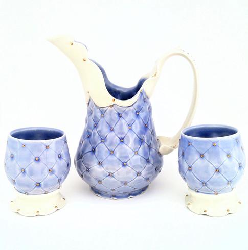 Pitcher & Goblets, Porcelain, Gold Luster, Cone 6, 2017
