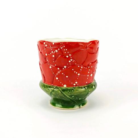 Peony with Dew Drop Web Cup, Porcelain, Underglaze, Cubic Zirconia, Cone 6, 2019.