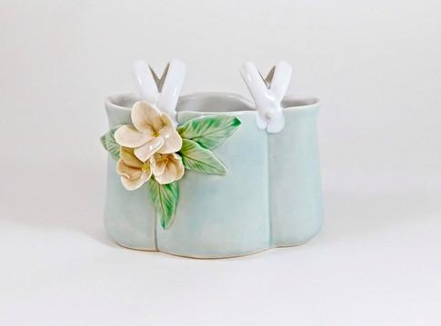Flower Basket, Porcelain, Cubic Zirconia, Cone 6, 2018
