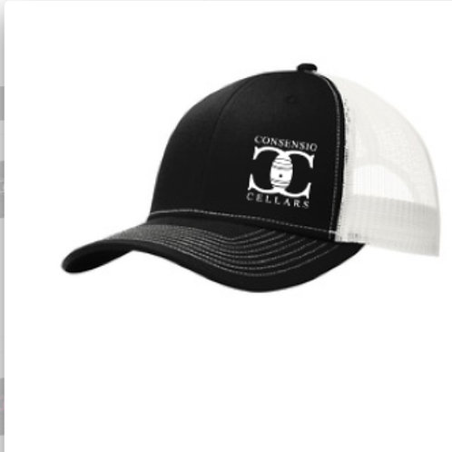Consensio Cellars Trucker Hat Black/White