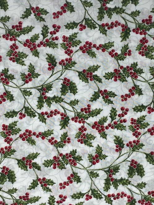 Hoffman Christmas Holy and Berries with Metallic Accents