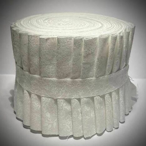 """White Jelly Roll -Tone on Tone 18 2.5"""" strips 100% Quilting Cotton"""