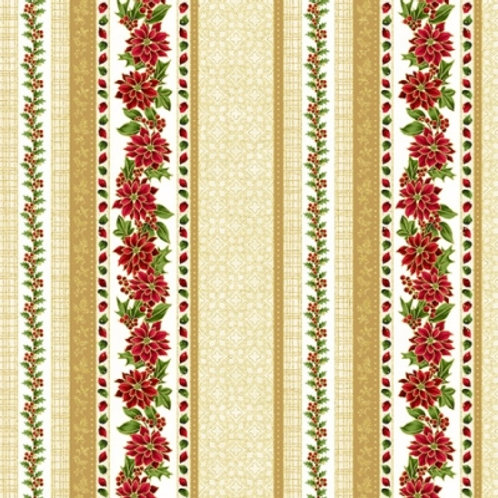 Hoffman Christmas Poised Poinsettia R7672 20G Natural/Gold Decorative Stripe