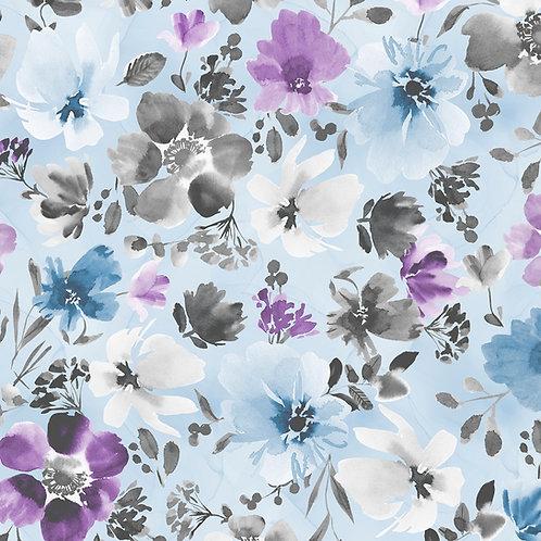 Awakenings Blue Large Floral Allover Yardage 13402-496