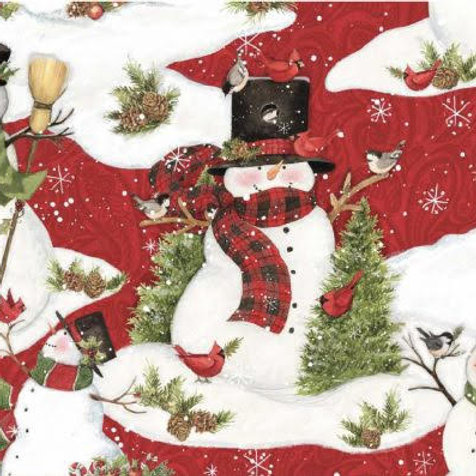 Susan Winget Country Snowman Scenic Red - Springs ONLY 1.5 YARDS LEFT