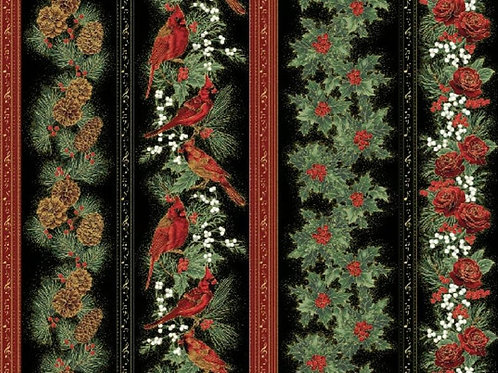 Hoffman Cardinal Carols Christmas Holly, Pine Cone, & Roses Border Stripe