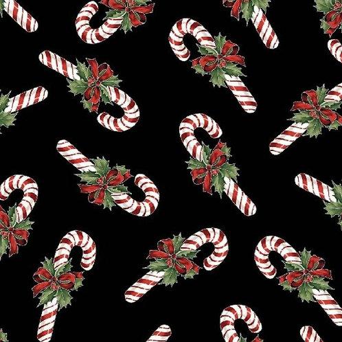Hoffman Cardinal Carols Black, Red and Metallic Gold Christmas Candy Canes