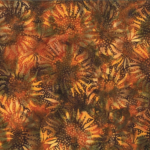 Hoffman Bali Batik Sunflower Teak 884-154
