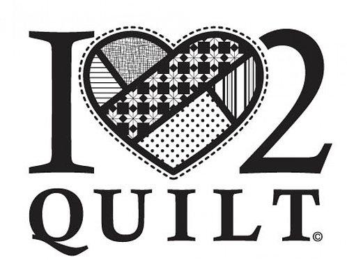 I'Love' 2 Quilt -White Vinyl Window Decal