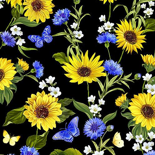 Benartex Sunflower Sunrise Sunflower Garden Black