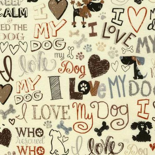 Timeless Treasures ILove My DogC5710-CREAM