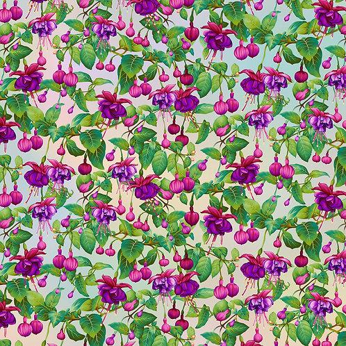Gossamer Garden Fuchsia Flowers Pastel Yardage