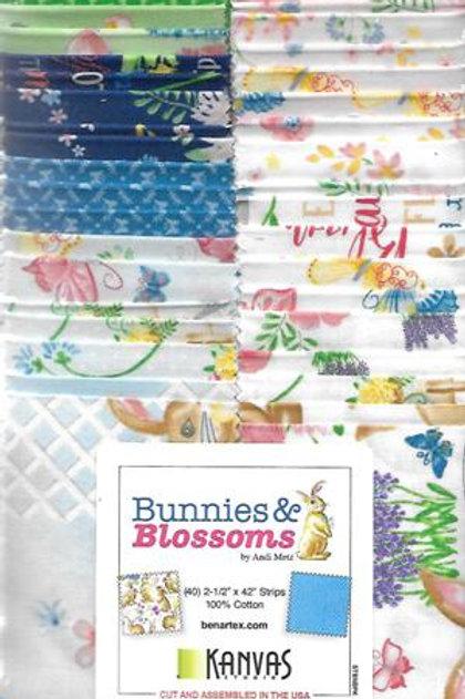 Bunnies & Blossoms Strip-pies by Kanvas Studio for Benartex Fabrics