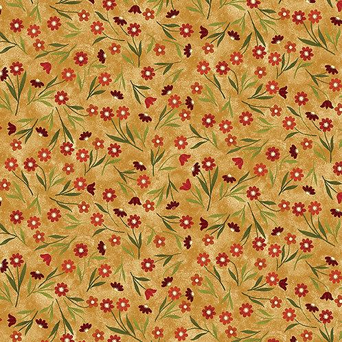 Benartex Bear Paws Field of Flowers Tan