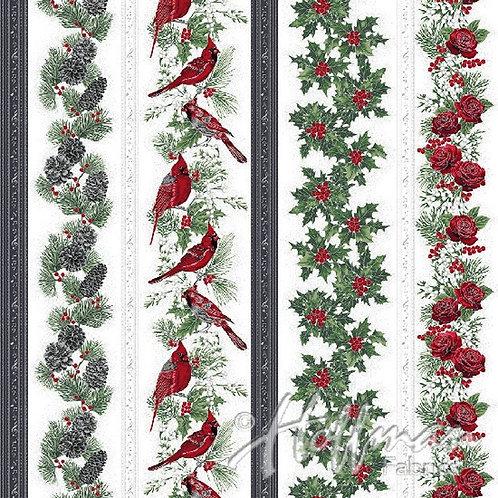 Hoffman Fabrics Cardinal Carols Grey Wallpaper Stripe Border Fabric Q7625(4)