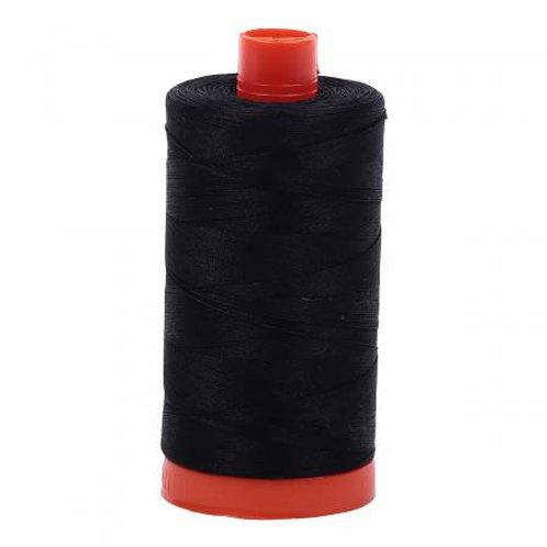 50wt Aurifil Black 100% Cotton Mako Thread