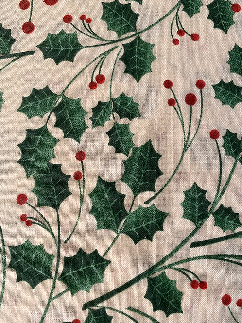 Merry Christmas Holly Leaves and Berries