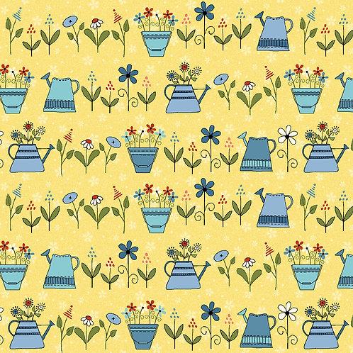 Backyard Happenings - Watering Can Yellow Yardage