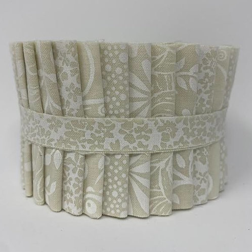 """White  on Tea Stain Jelly Roll 18  2.5"""" strips"""