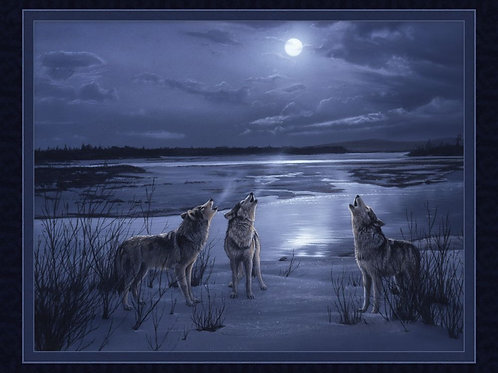 "'Moonsong Study' Wolf Panel 36"""