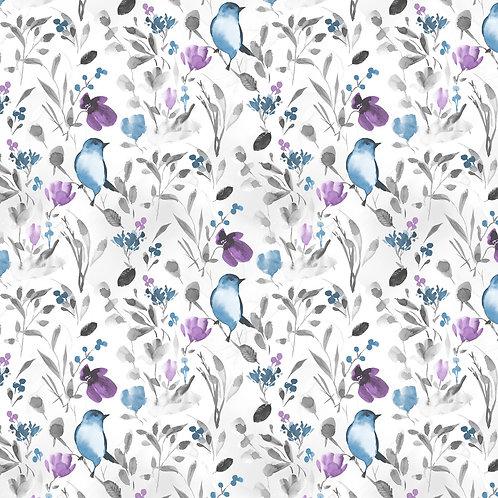Awakenings White Birds & Branches Yardage  13404-194
