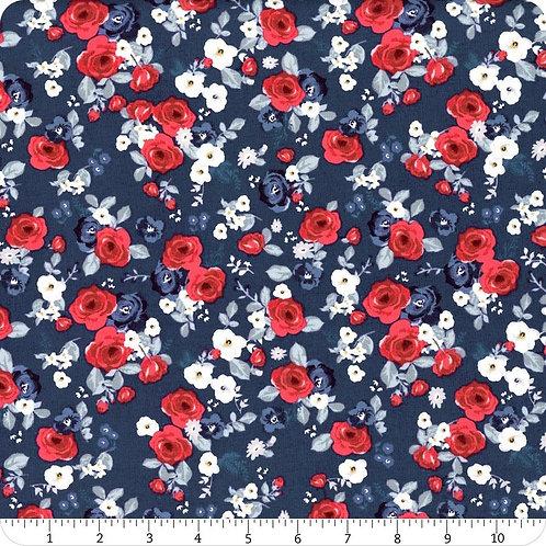 Riley Blake Land of Liberty Navy Floral Yardage