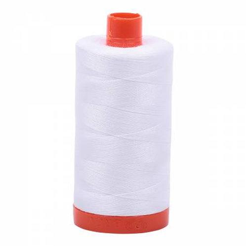 50wt Aurifil White 100% Cotton Mako Thread