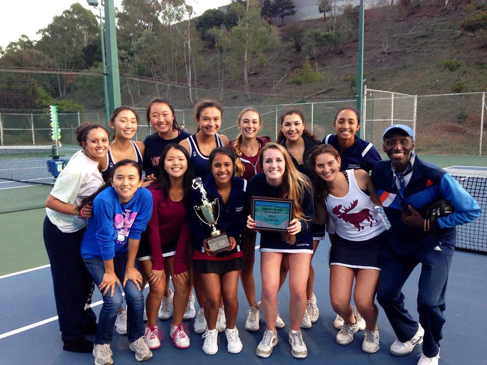 College Prep's Woman's Tennis team proudly displays their hard-earned BCL champion trophy and plaque!