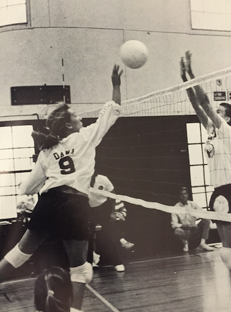 The College Prep Girls Varsity Volleyball team playing a game in 1980