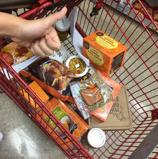 """A cart full of everything you've ever wanted in your life. There were so much goodness in this cart that I could have sworn I heard Guy Fieri softly whispering """"get ready for flavortown"""" over and over again."""