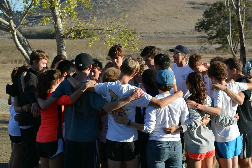 A post-meet pep talk, then home! Photography by Mary Jo Ashby