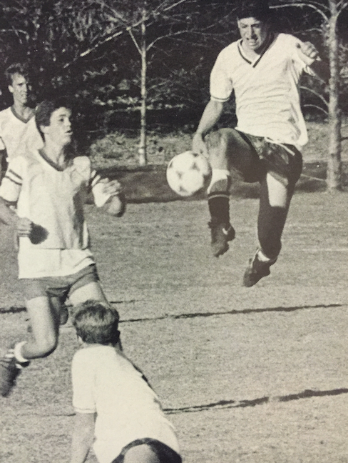 College Prep Boys Varsity soccer team playing a game in 1980
