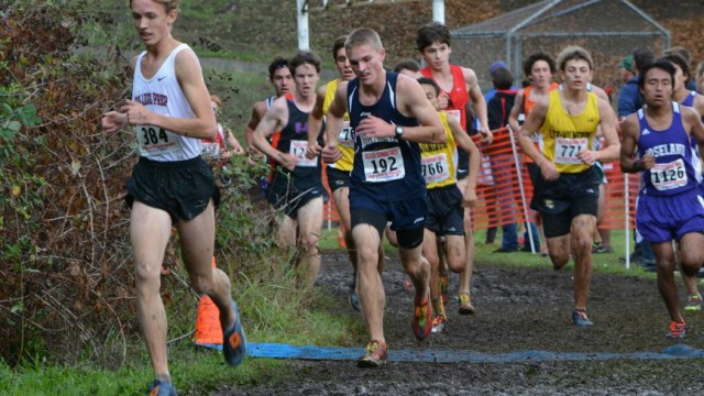 Senior Tris D. crosses a checkpoint-- and stays ahead of the pack. Photography by Mary Jo Ashby