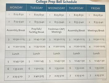 College Prep's current schedule