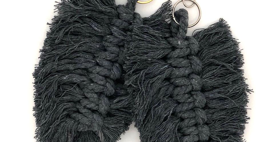 Macrame Feather Handbag Charm / Grey