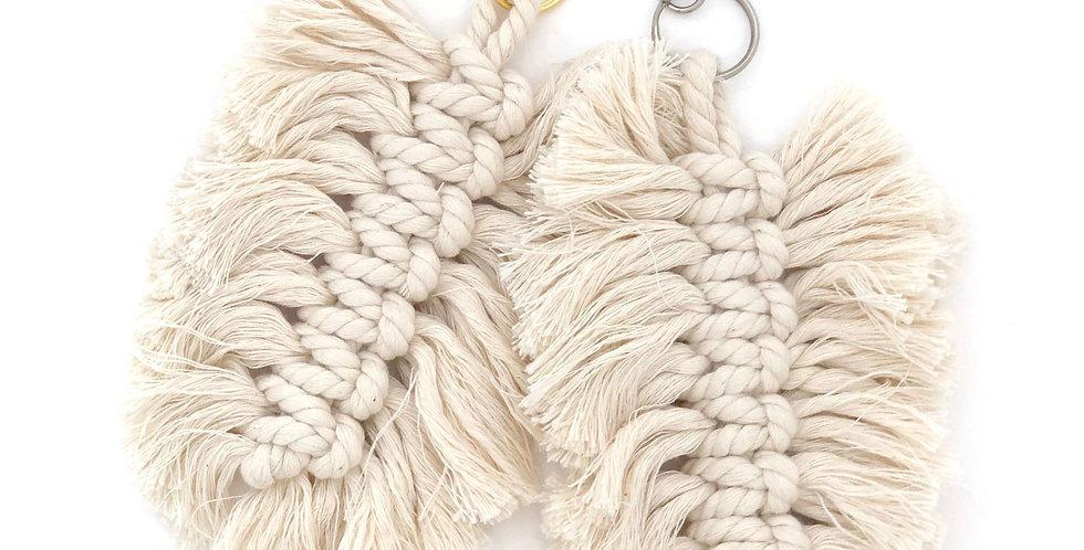 Macrame Feather Handbag Charm / Natural