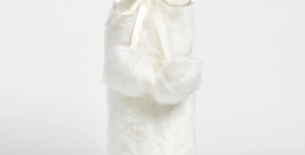 Faux Fur-ever Wine Bag - Ivory
